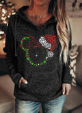 Women's Hoodies Cartoon Print Sequin Christmas Long Sleeve Hoodie - Durrye
