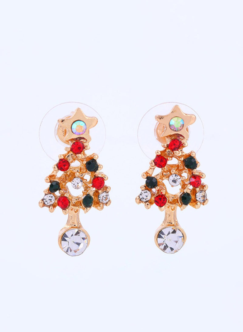 Women's Earrings Christmas Tree Rhinestone Color Gold Earrings - Durrye