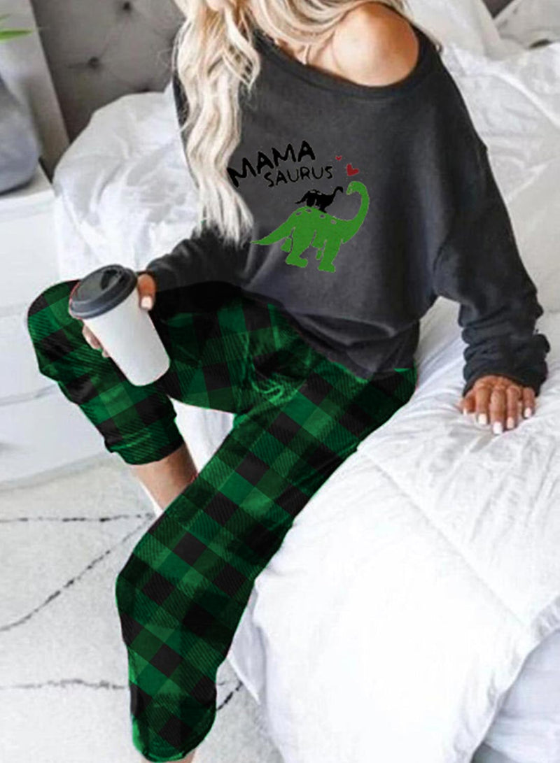 Women's Loungewear Sets Plaid Animal Print Christmas Long Sleeve One-Shoulder 2-Piece Loungewear Set - Durrye