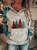 Women's Hoodies Christmas Tree Print Color-block Long Sleeve Pocket Hoodie - Durrye