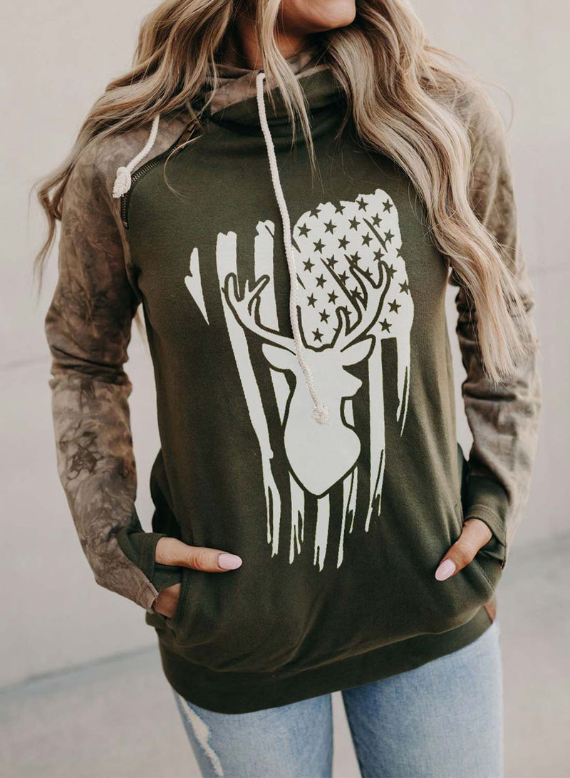 Women's Hoodies Camouflage Flag Print Color-block Long Sleeve Pocket Hoodie - Durrye