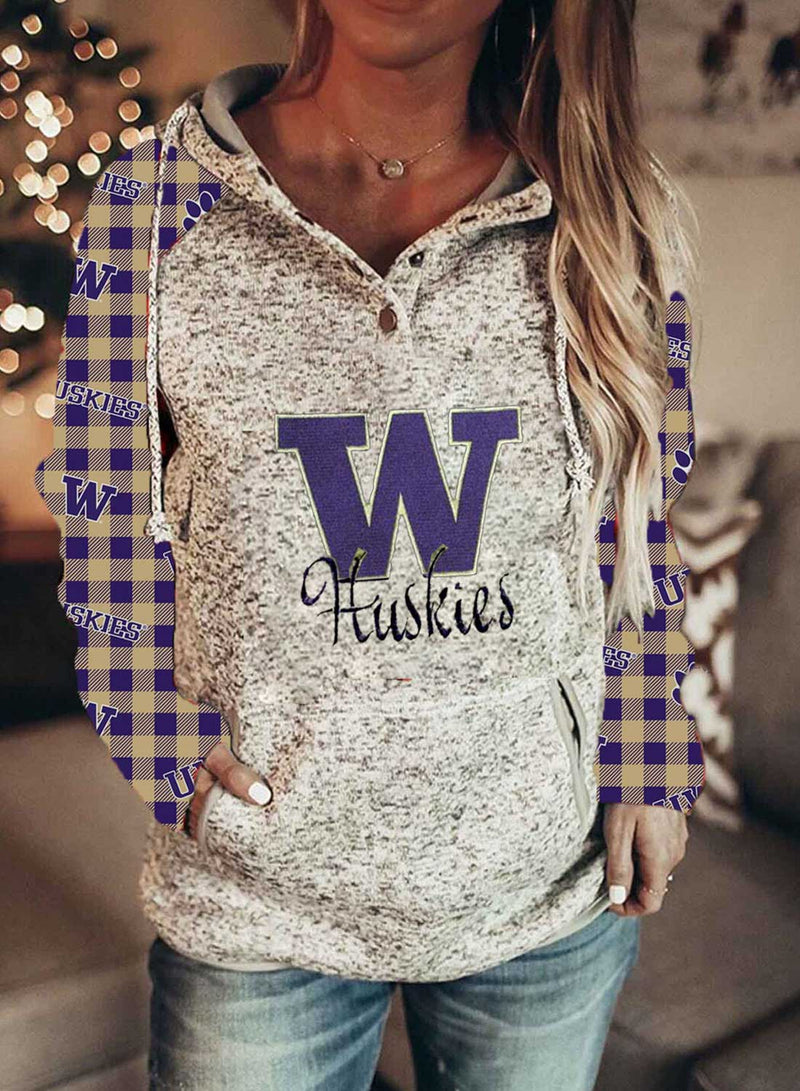 Women's Hoodies Plaid Color-block Letter Pint Long Sleeve Pocket Hoodie 001 - Durrye