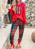 Women's Loungewear Sets Christmas Plaid Letter Print Long Sleeve Round Neck 2-Piece Loungewear Set - Durrye