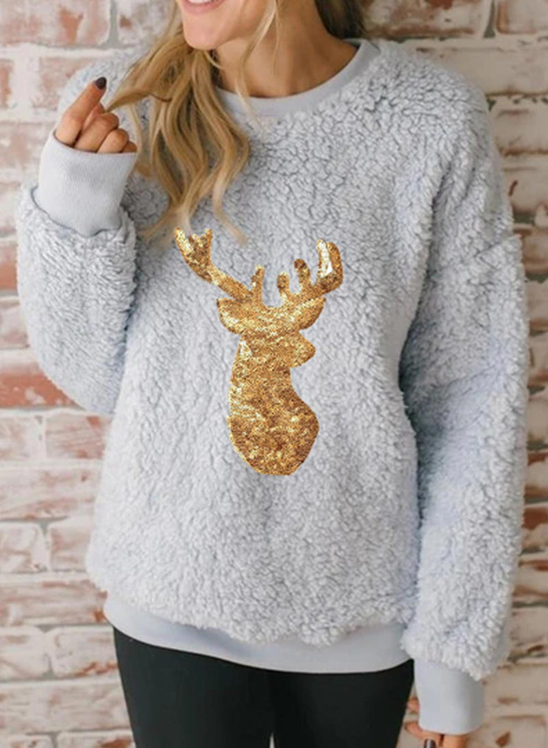 Women's Sweatshirts Animal Print Sequin Long Sleeve Round Neck Christmas Sweatshirt - Durrye