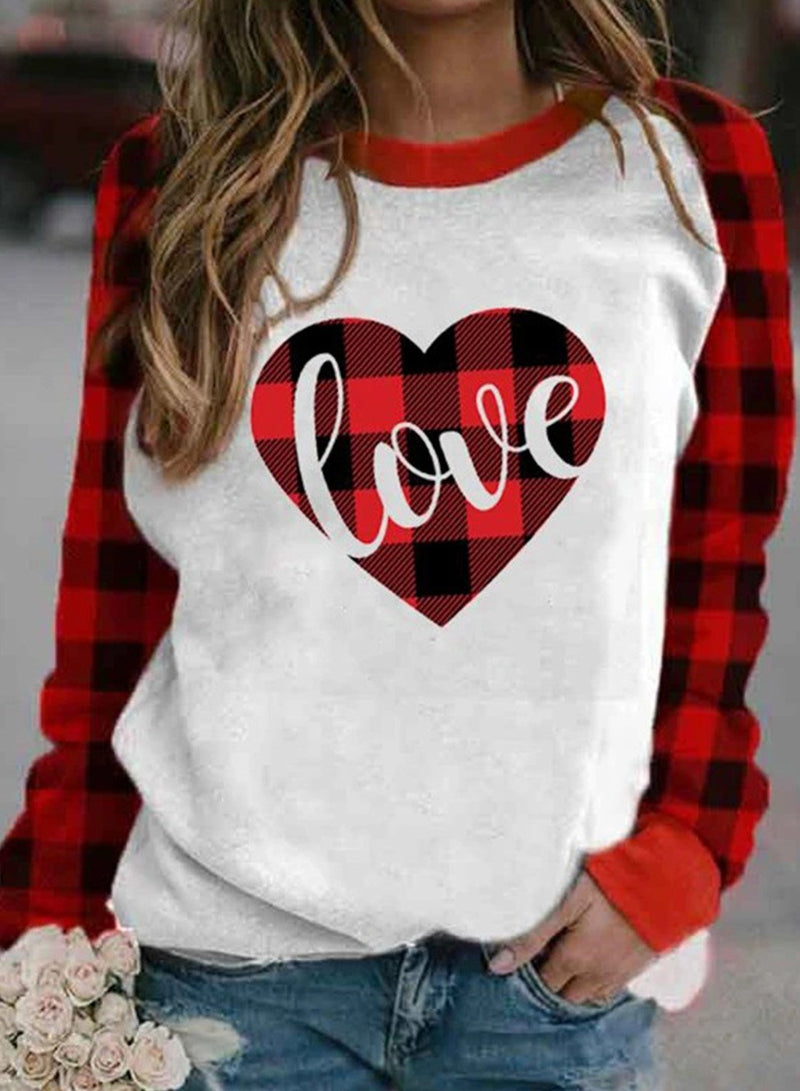 Women's T-shirts Plaid Heart-shaped Print Long Sleeve Round Neck T-shirt - Durrye
