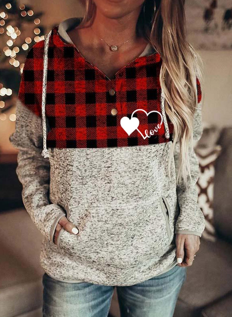 Women's Hoodies Drawstring Long Sleeve Plaid Hoodies With Pockets - Durrye