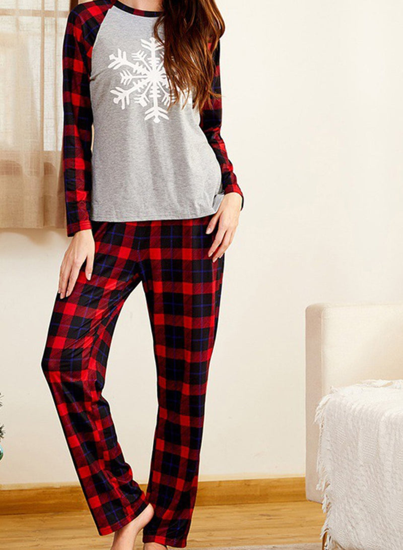 Women's Loungewear Sets Plaid Snowflake Print Long Sleeve Round Neck 2-Piece Loungewear Set - Durrye