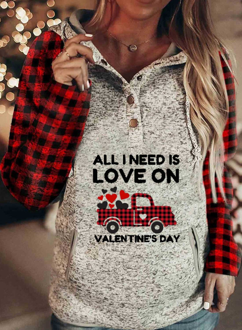 Women's Hoodies Letter Car Print Plaid Pocket Button Long Sleeve Hoodie - Durrye