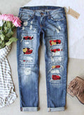 Women's Jeans Plaid Heart-shaped Print Slim High Waist Ankle-length Pocket Ripped Jeans - Durrye