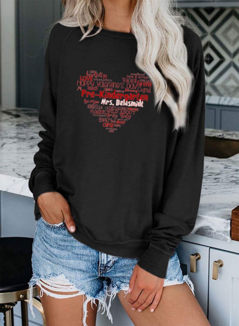 Women's Sweatshirts Letter Heart-shaped Print Long Sleeve Round Neck Spring Autumn Winter Casual Sweatshirt - Durrye