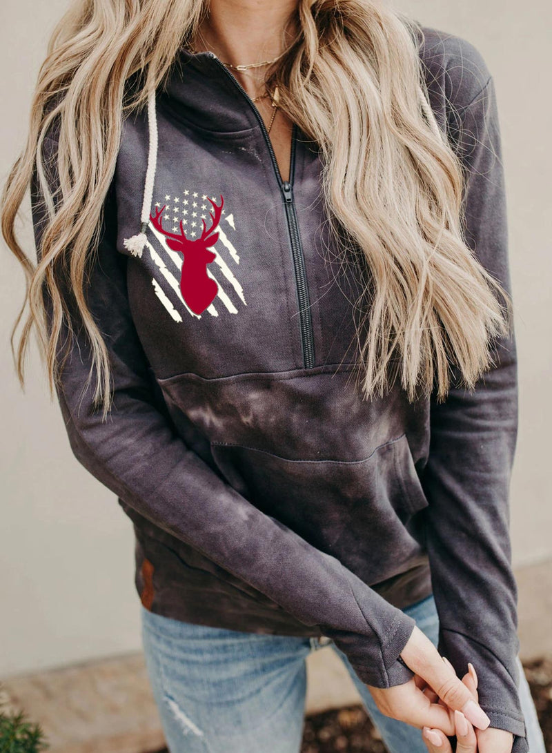 Women's Hoodies Flag Long Sleeve Daily Spring Hoodies With Pockets - Durrye
