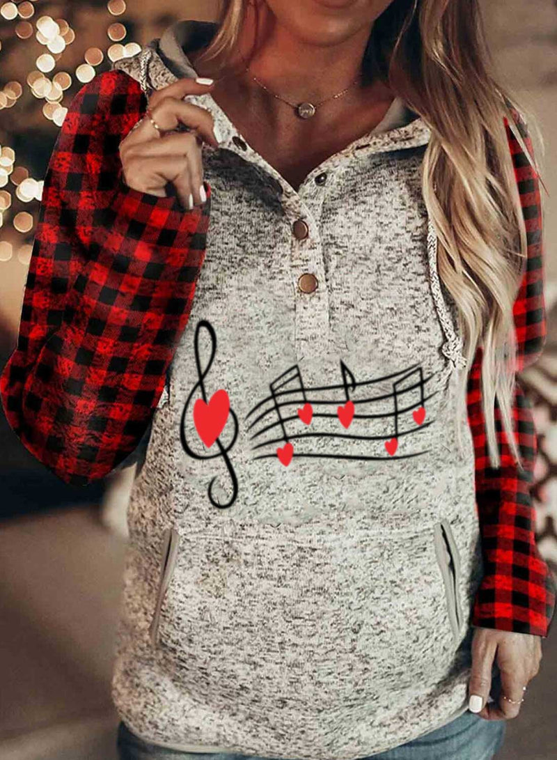 Women's Hoodies Plaid Color-block Letter Print Long Sleeve Casual Button Pocket Hoodie - Durrye