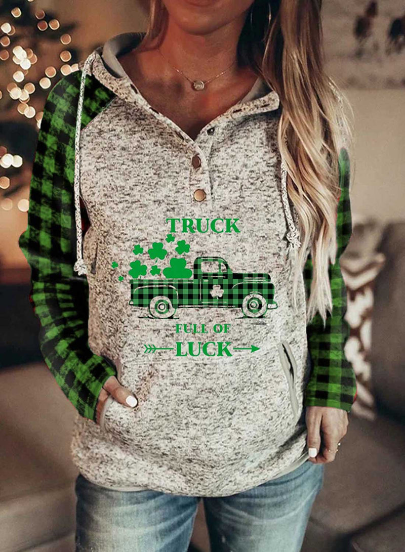 Women's Hoodies Drawstring Button Long Sleeve Plaid Letter Casual Hoodies With Pockets - Durrye