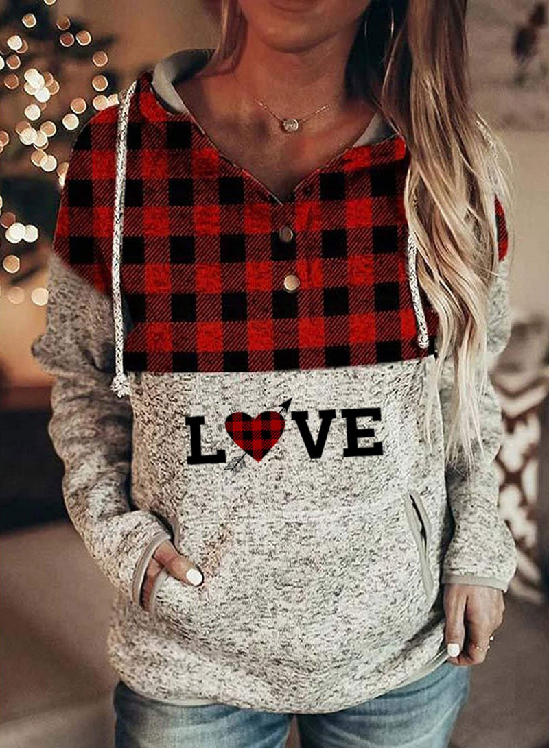 Women's Hoodies Plaid Letter Long Sleeve Casual Button Pocket Drawstring Hoodie - Durrye