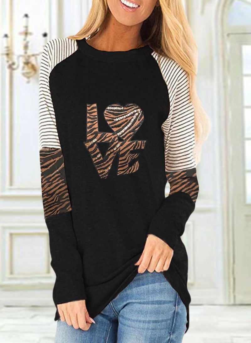Women's Sweatshirts Round Neck Long Sleeve Leopard Striped Letter Casual Sweatshirts - Durrye