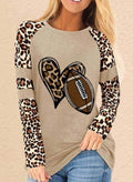 Women's Sweatshirts Round Neck Long Sleeve Sweatheart Leopard Casual Sweatshirts - Durrye