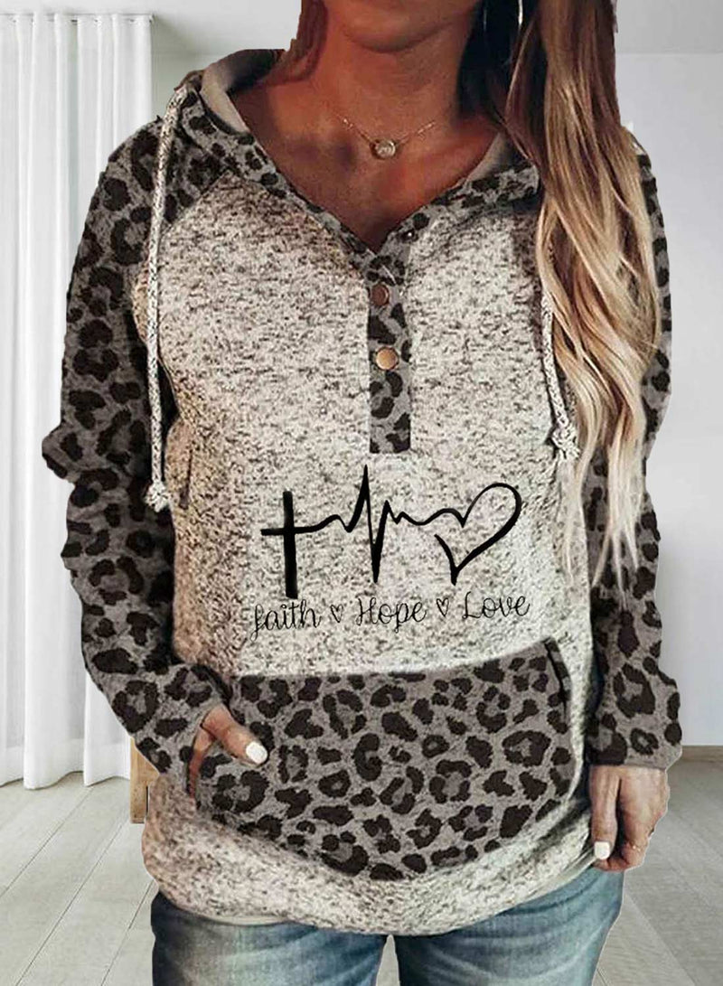 Women's Hoodies Drawstring Long Sleeve Button Leopard Hoodies With Pockets - Durrye