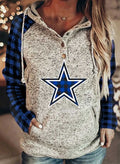 Women's Hoodies Drawstring Long Sleeve Button Plaid Star Casual Hoodies With Pockets 001 - Durrye