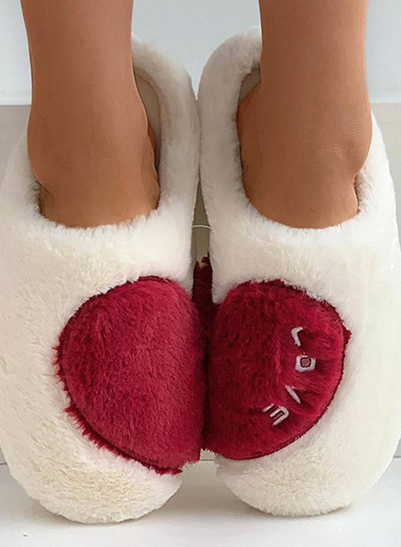 Women's Slippers Suede Plush Color Block Indoor Winter Slippers - Durrye