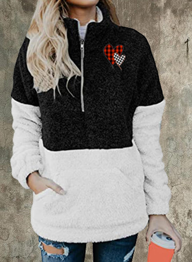 Women's Sweatshirts Winter Stand Neck Long Sleeve Plush Solid Color Block Casual Daily Sweatshirts With Pockets - Durrye