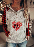 Women's Hoodies Drawstring Long Sleeve Button Color Block Plaid Casual Hoodies With Pockets - Durrye