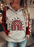 Women's Hoodies Drawstring Long Sleeve Button Plaid Casual Hoodies With Pockets - Durrye