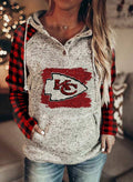 Women's Hoodies Winter Drawstring Long Sleeve Plaid Button Casual Hoodies With Pockets - Durrye