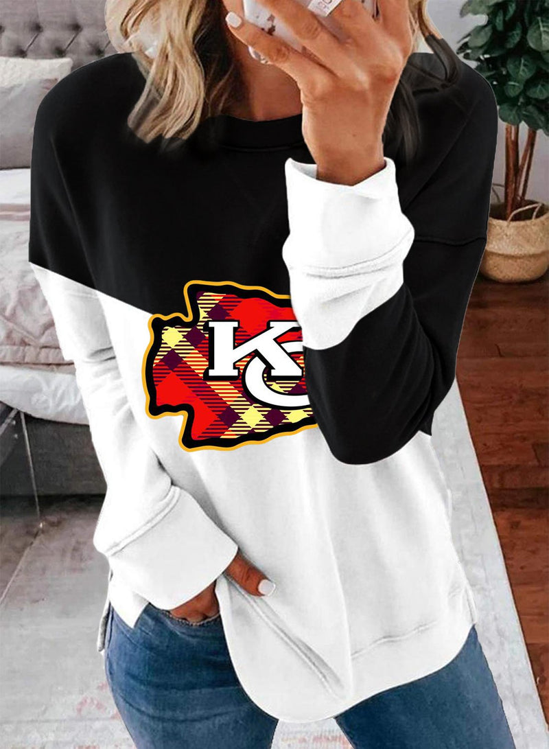 Women's Sweatshirts Round Neck Long Sleeve Color Block Letter Casual Daily Tunics - Durrye