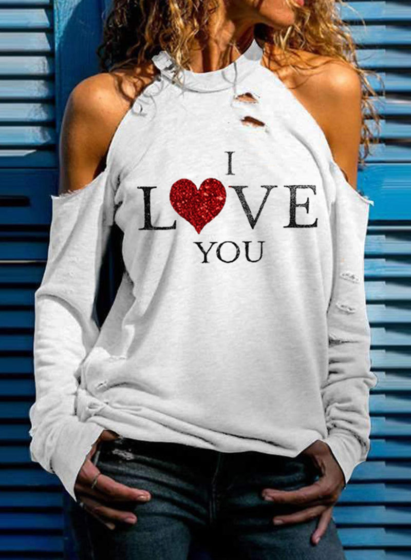 Women's Pullovers Holiday Heart-shaped Letter Long Sleeve Round Neck Daily Casual Sequin Pullover - Durrye