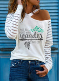 Women's Pullovers Letter Striped Long Sleeve Round Neck Daily Casual Cut-out Pullover - Durrye