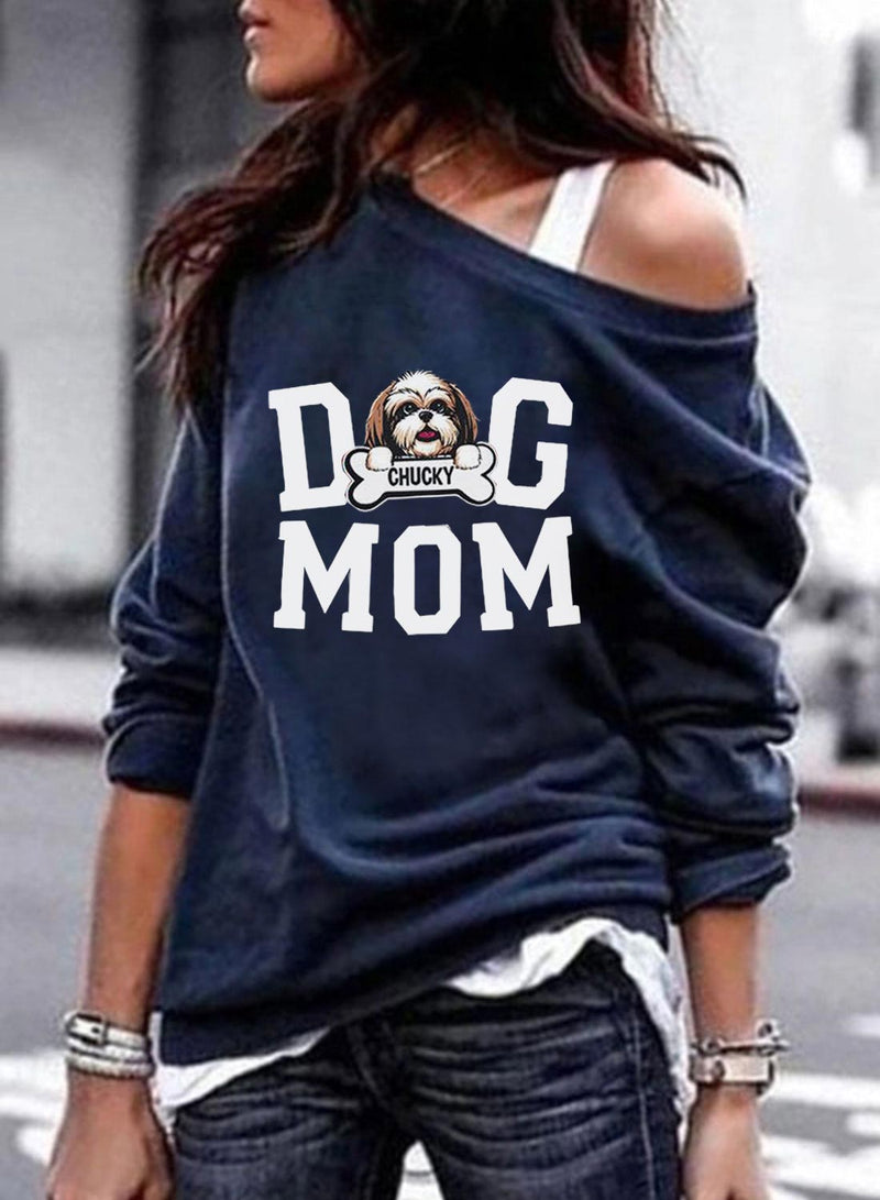 Women's Pullovers Dog Letter Long Sleeve Off Shoulder Casual Pullover - Durrye