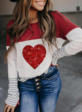 Women's Pullovers Color Block Heart-shaped Long Sleeve Round Neck Sequin Casual Pullover - Durrye