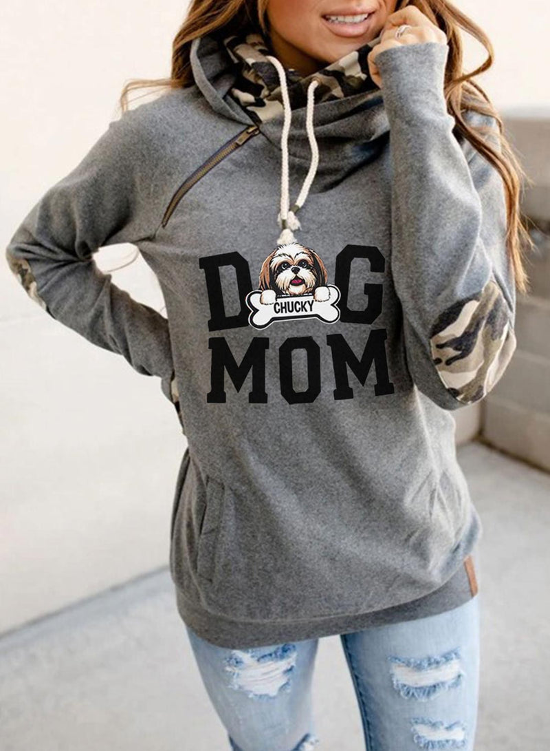 Women's Hoodies Camouflage Letter Dog Long Sleeve Daily Casual Zip Pocket Drawstring Hoodie - Durrye
