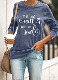 Women's Sweatshirts Round Neck Long Sleeve Letter Solid Casual Daily Sweatshirts - Durrye
