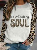 Women's Sweatshirts Round Neck Long Sleeve Letter Leopard Casual Sweatshirts - Durrye