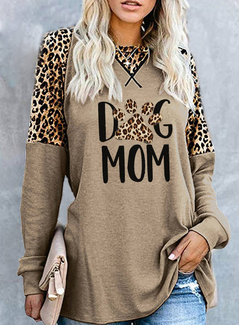 Women's Tunics Leopard Round Neck Long Sleeve Solid Letter Casual Tunic - Durrye