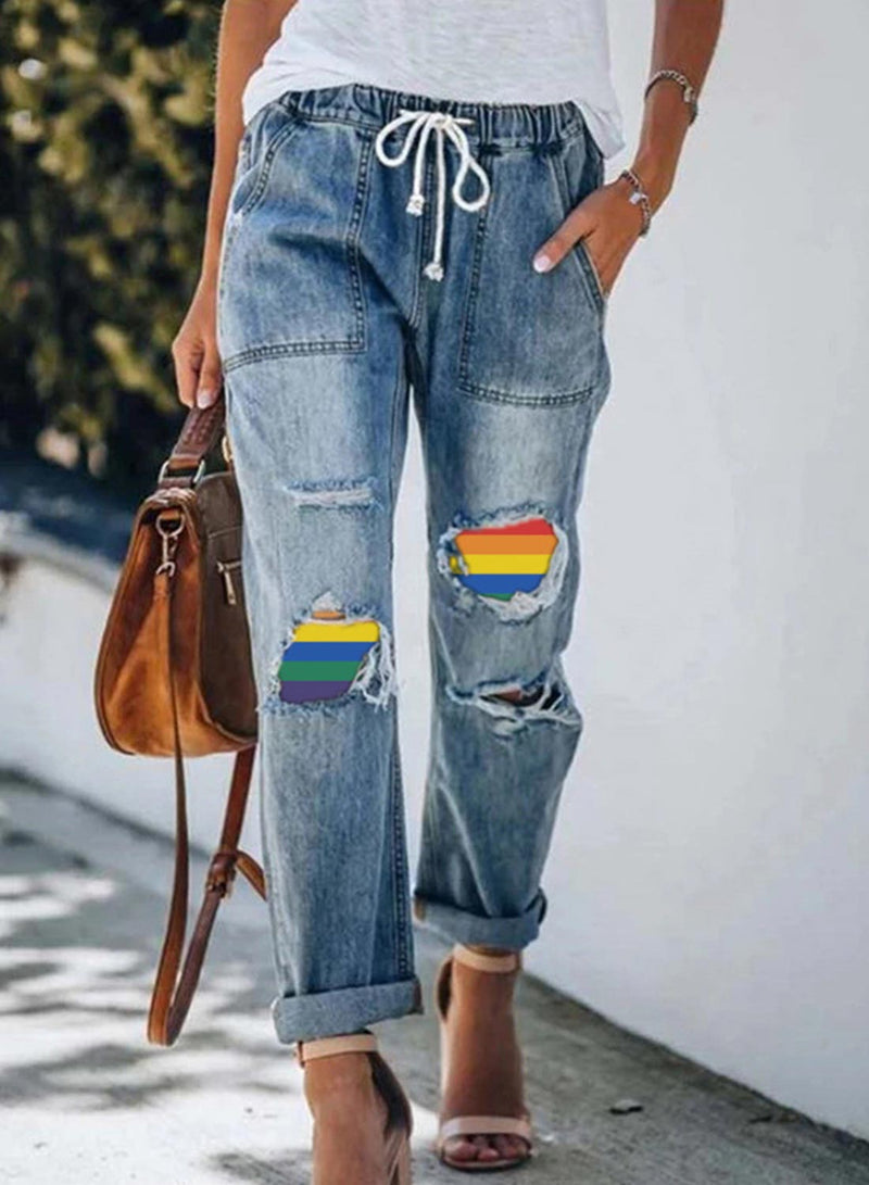 Women's Jeans Mid Waist Color Block Straight Full Length Cut-out Drawstring Casual Daily Jeans - Durrye