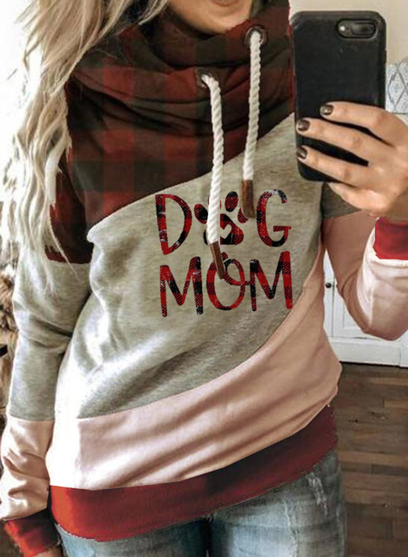 Women's Hoodies Plaid Color-block Letter Long Sleeve Daily Casual Drawstring Hoodie - Durrye