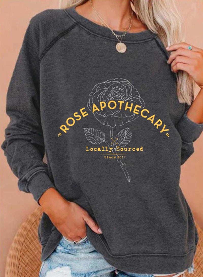 Women's Sweatshirts Rose Letter Print Long Sleeve Round Neck Daily Sweatshirt - Durrye