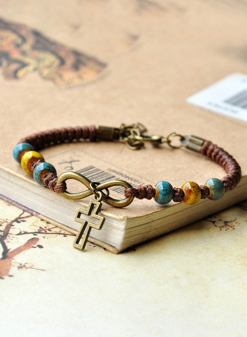 Women's Bracelets Ethnic Ceramic Cross Bead Woven Bracelet - Durrye