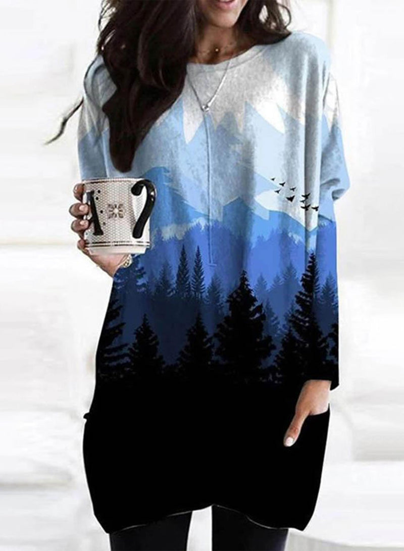 Women's Tunics Color Block Gradient Long Sleeve Round Neck Daily Tunic - Durrye