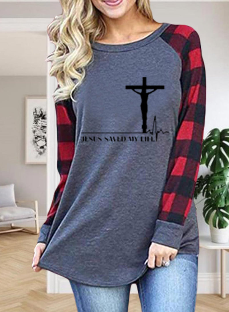 Women's T-shirts Plaid Letter Long Sleeve Round Neck Daily T-shirt - Durrye