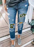 Women's Jeans Letter Slim High Waist Ankle-length Pocket Casual Ripped Jeans - Durrye