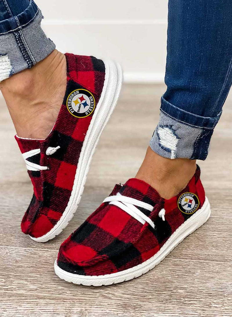 Women's Sneakers Casual Plaid Canvas Sneakers - Durrye