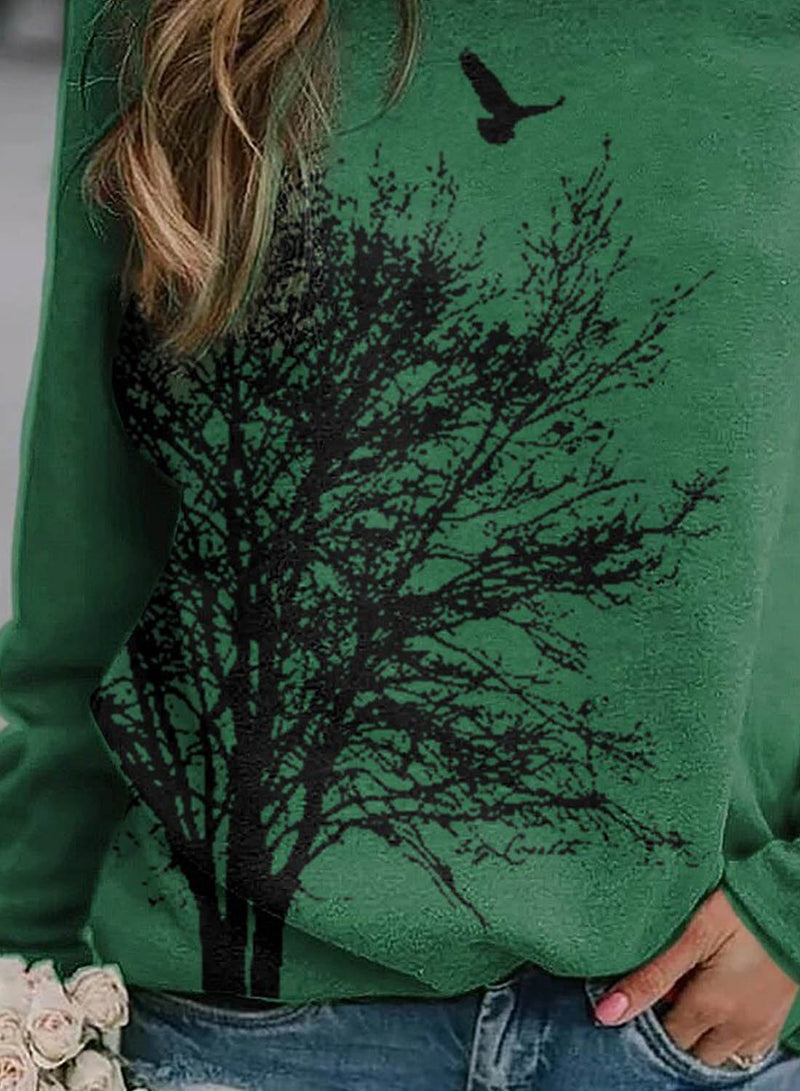 Women's Pullovers Casual Fruits & Plants Solid Round Neck Long Sleeve Daily Pullovers - Durrye