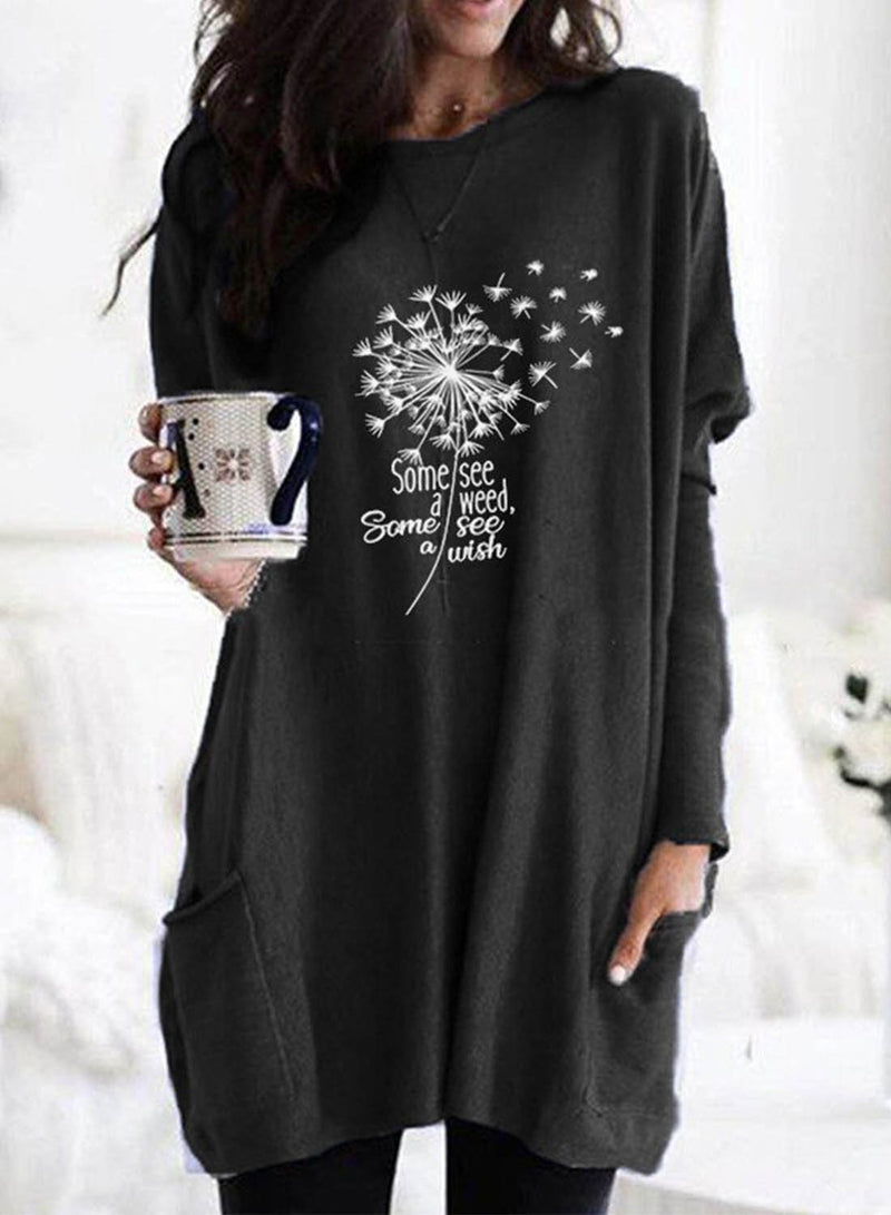 Women's Tunic Tops Casual Plants Solid Round Neck Long Sleeve Pocket Daily Tunics - Durrye