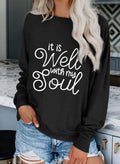 Women's Sweatshirts Letter Print Long Sleeve Round Neck Casual Sweatshirt - Durrye