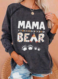 Women's Sweatshirts Bear Letter Print Long Sleeve Round Neck Daily Sweatshirt - Durrye