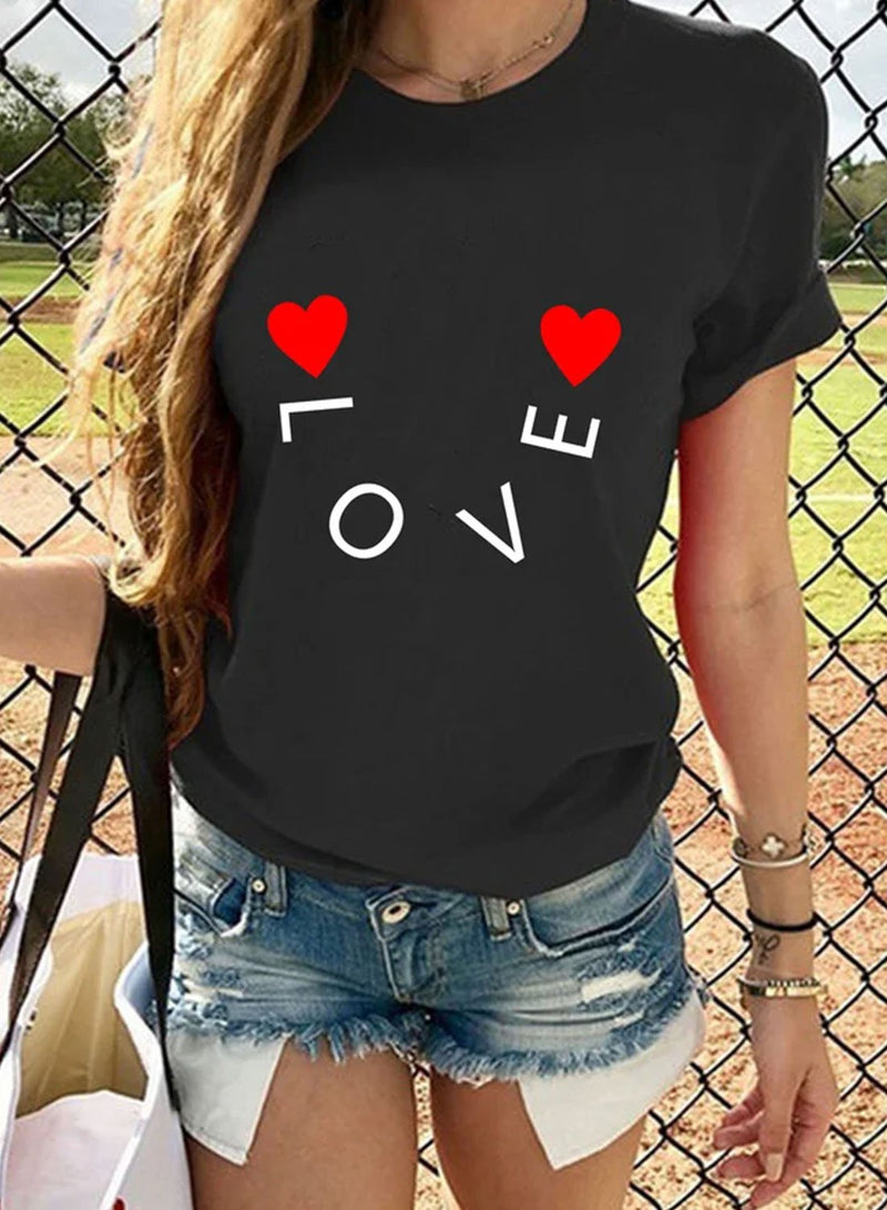 Women's T-shirts Letter Holiday Short Sleeve Round Neck Daily Date T-shirt - Durrye