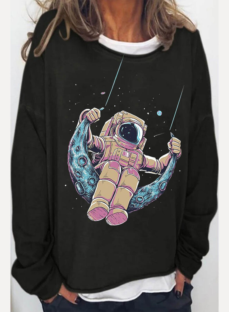Women's Sweatshirts Astronaut Print Long Sleeve Round Neck Daily Sweatshirt - Durrye